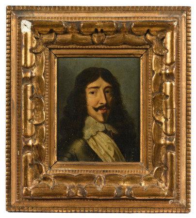 École française vers 1640.  - Portrait de Louis XIII.  - Huile sur panneau de [...]