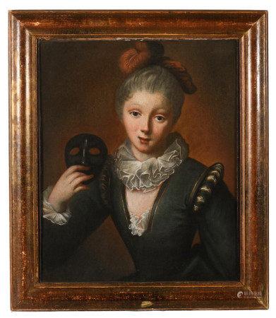 École française XVIIIe, suiveur de Jean RAOUX (1677-1734).  - Jeune femme au loup.  [...]