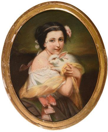 École française XIXe.  - Jeune fille au lapin.  - Pastel ovale.  - 72 x 58 cm.  -  -