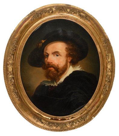 GÉRARD (XIXe).  - Portraits d'hommes.  - Paire de toiles fixées sous verre ovales, [...]
