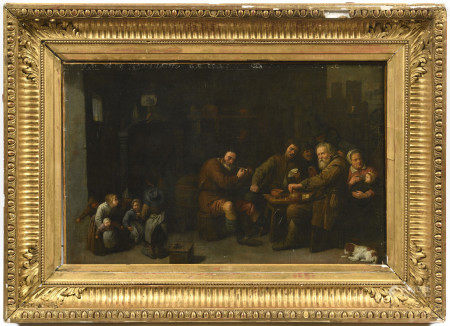 Attribué à David RYCKAERT III (1612-1661).  - Scène de taverne animée.  - Huile [...]