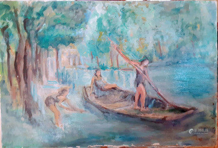 FRENCH IMPRESSIONIST PAINTING SIGNED LUCE OIL ON CANVAS