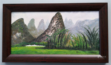 CHINESE OIL PAINTING OF LANDSCAPE ON CANVAS SIGNED BY WU GUANZHONG
