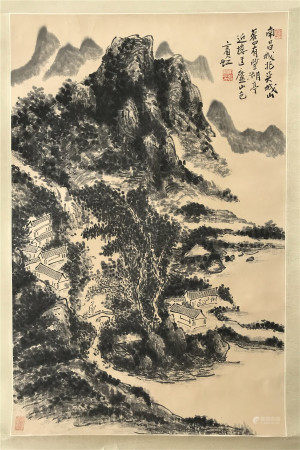 PREVIOUS COLLECTION OF QIAN JINGTANG CHINESE SCROLL PAINTING OF MOUNTAIN VIEWS SIGNED BY HUANG BINHONG