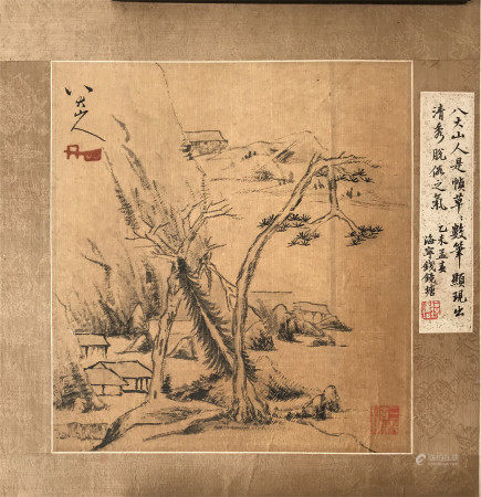 PREVIOUS COLLECTION OF QIAN JINGTANG CHINESE SCROLL PAINTING OF LANDSCAPE SIGNED BY BADASHANREN