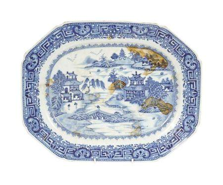 18TH-CENTURY NANKIN BLUE AND WHITE PLATE