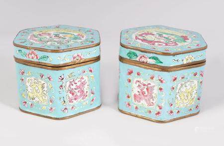 PAIR OF 19TH-CENTURY CHINESE ENAMELLED CADDIES