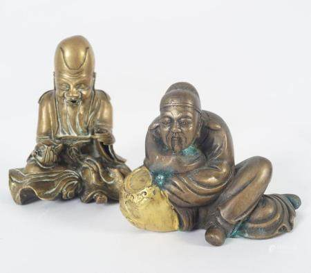 TWO CHINESE BRASS FIGURES