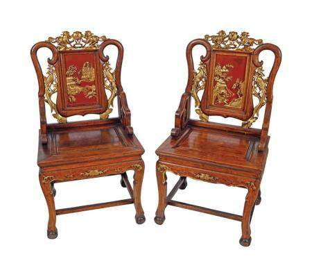 PAIR CHINESE QING PERIOD CEREMONIAL HALL CHAIRS