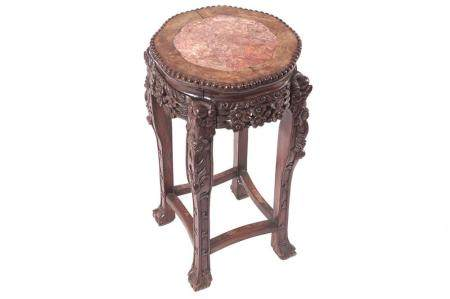 19TH-CENTURY CARVED CHINESE HARDWOOD PEDESTAL