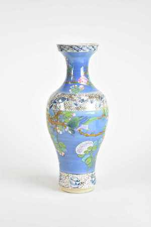 A Chinese brushed-blue ground famille rose baluster vase, 19th century, of ovoid form with everted