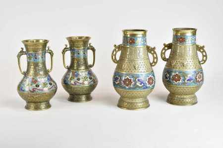 Two pairs of Chinese bronze enamel vases, Qing Dynasty, the first of Hu shape with archaistic