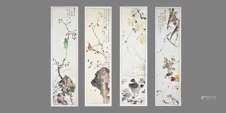Chinese School, 20th centuryFour hand scrolls, painted with scenes of exotic birds and waterfowl