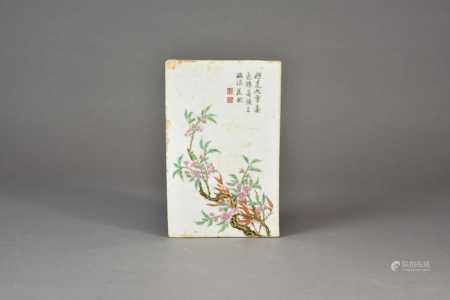 A Chinese porcelain plaque, Republic period, of rectangular outline and painted in the manner of