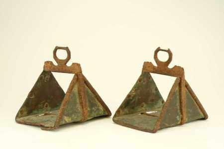A pair of iron and copper stirrups, probably Turkish Ottoman, 18th century