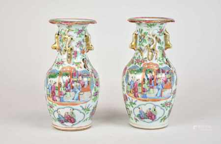 A pair of Chinese Canton famille rose vases, 19th century, of ovoid form with lobed rims and gilt