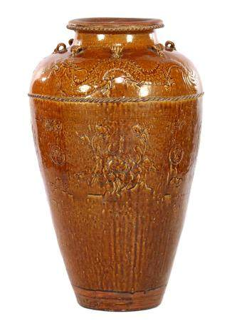 Brown glazed earthenware Chinese vase