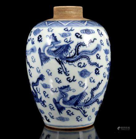 Porcelain vase with blue dragon decoration