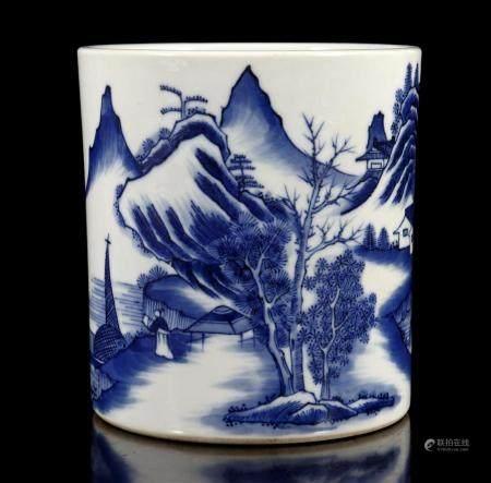 Porcelain brush pot with blue landscape decor