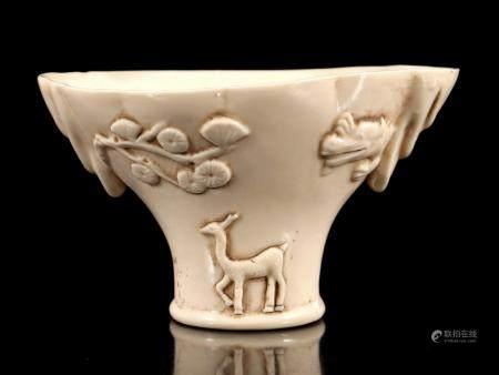 Blanc de Chine oval bowl