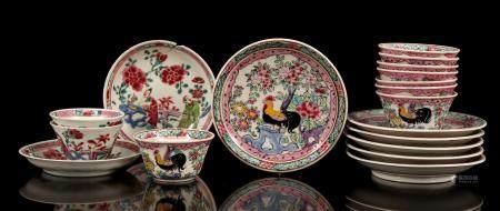 6 and 2 porcelain bowls on saucer