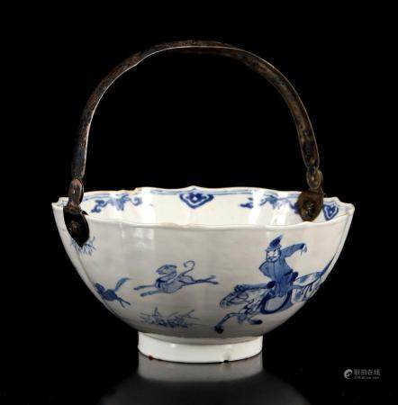 Chinese porcelain lobed bowl with images of hunters