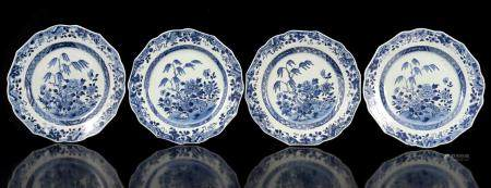 3 Chinese porcelain plates with blue decoration