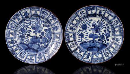 2 Chinese porcelain plates with blue decoration