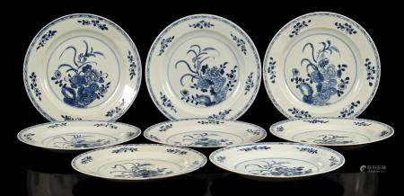 8 Chinese porcelain dishes with floral decoration