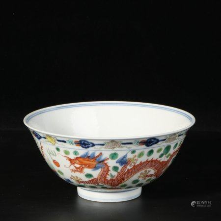 "chinese wucai porcelain ""dragon"" bowl"