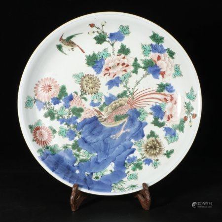 "chinese wucai porcelain ""flower and bird "" plate"