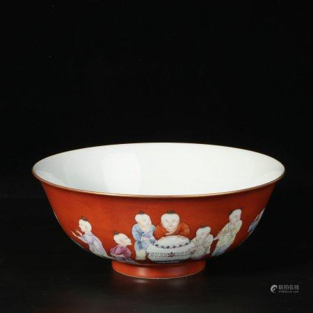 "chinese copper-red glazed porcelain ""boy"" bowl"