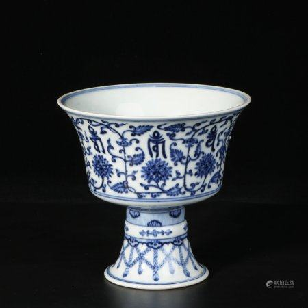 chinese blue and white porcelain sanskrit cup