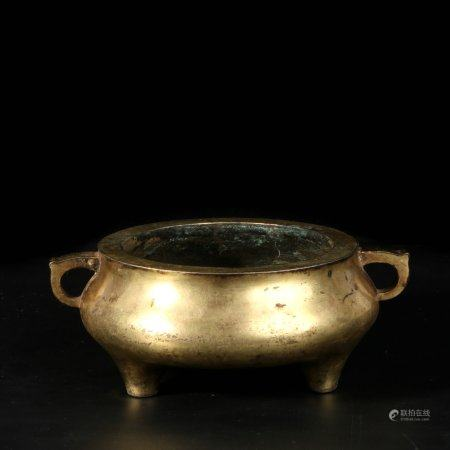 chinese gilt bronze incense burner
