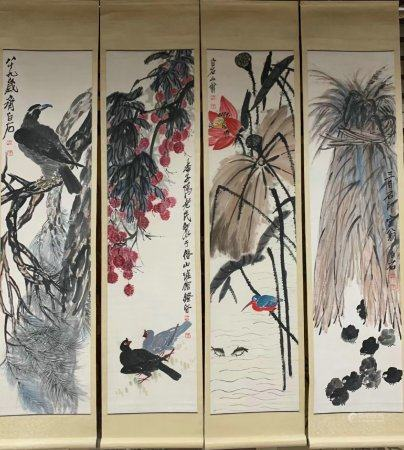 chinese four-screen painting by qi baishi
