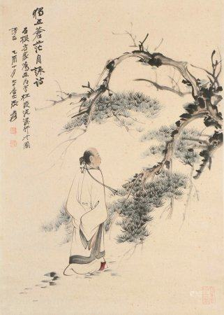 chinese painting of figure by zhang daqian