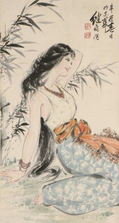 chinese painting of figure by liu jiyou