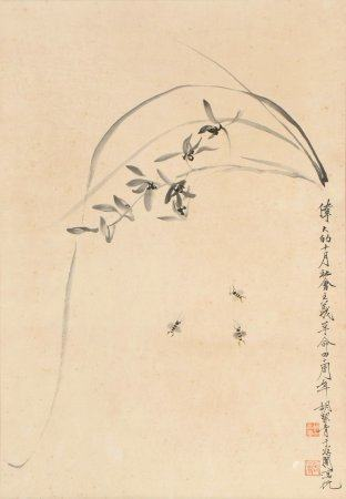 chinese painting of orchid by yu feian