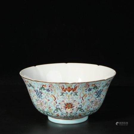 "chinese turquoise glazed porcelain ""flower"" bowl"