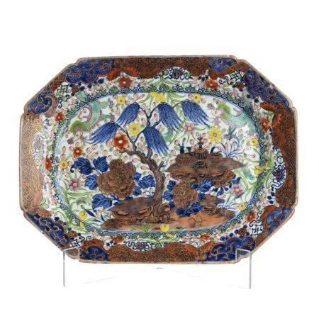 Chinese porcelain Clobbered decoration platter