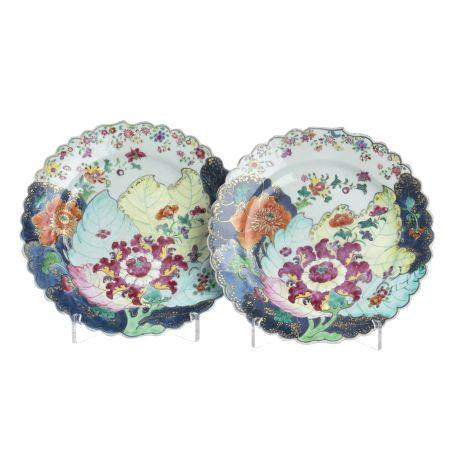 Pair of Chinese Export porcelain 'Tobacco Leaf' pl