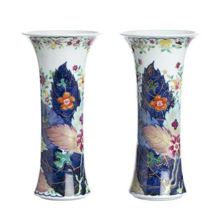 Pair of 'tobacco leaf' jars in Chinese porcelain
