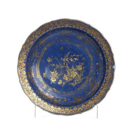 Large Chinese porcelain Powder blue plate, Qianlon