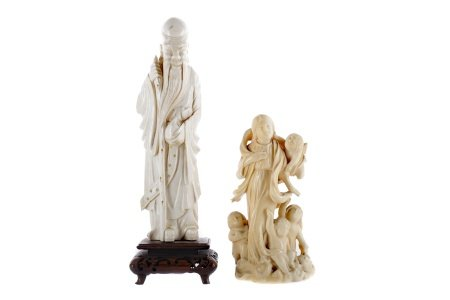 AN EARLY 20TH CENTURY CHINESE CARVED IVORY FIGURE AND ANOTHER