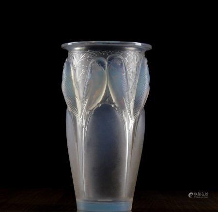 A LALIQUE 'CEYLAN' PATTERN OPALESCENT GLASS VASE