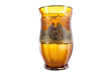 A LATE 19TH CENTURY BOHEMIAN AMBER GLASS VASE