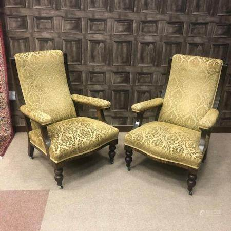 A PAIR OF VICTORIAN OAK FRAMED ARMCHAIRS
