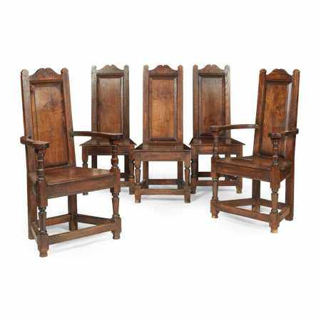 SET OF FIVE JACOBEAN STYLE OAK CHAIRS 20TH CENTURY