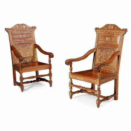 PAIR OF 17TH CENTURY STYLE OAK ARMCHAIRS 20TH CENTURY