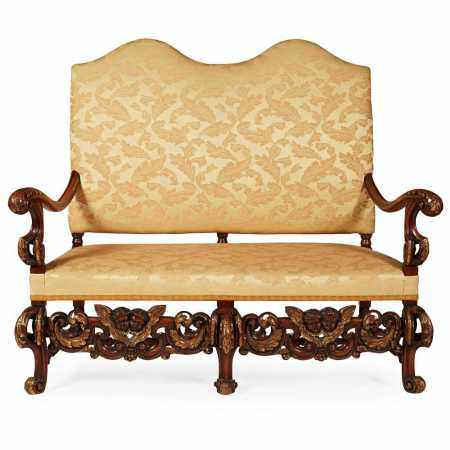 WILLIAM AND MARY STYLE PARCEL-GILT WALNUT DOUBLE CHAIRBACK SETTEE LATE 19TH/ EARLY 20TH CENTURY